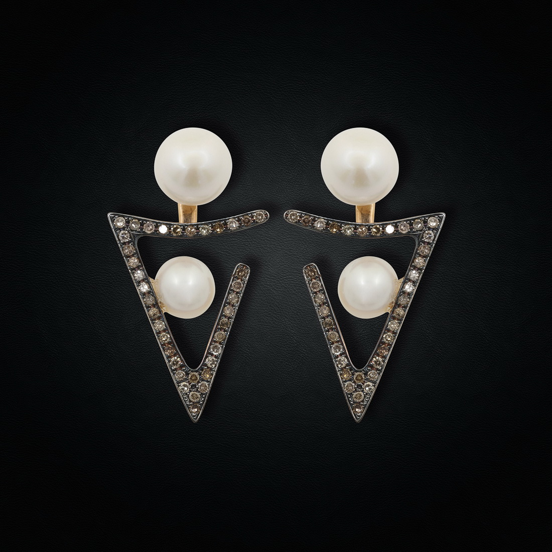 Pearl & Black Diamond earrings